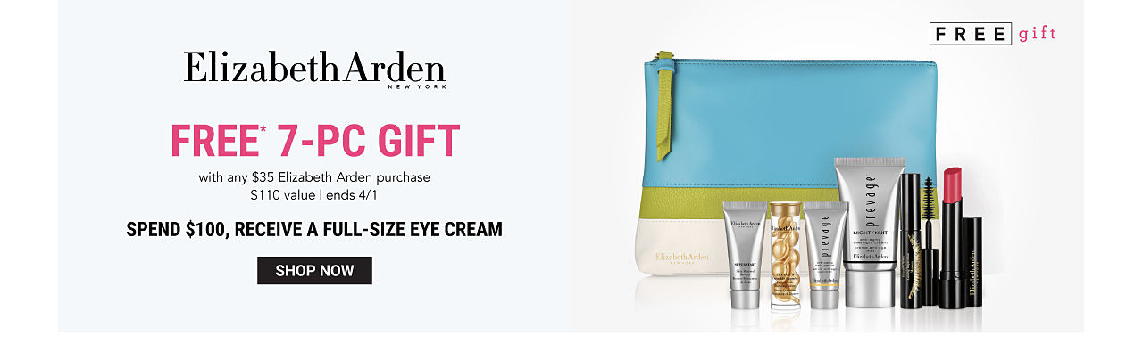 A blue, green & white zippered makeup pouch & an assortment of Elizabeth Arden beauty products. Elizabeth Arden. Free 7 piece gift with any $35 Elizabeth Arden purchase. A $110 value. Ends April 1st. Spend $100, receive a full size eye cream. Shop now.