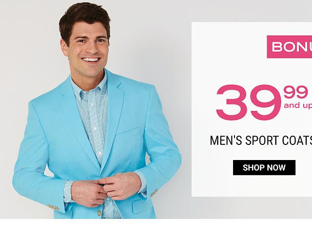 A man wearing a powder blue sport coats & a light green dress shirt. Bonus Buy. $39.99 & up men's sport coats. Shop now.