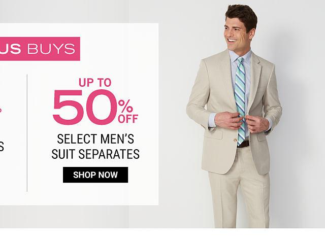 A man wearing a beige suit, a light purple dress shirt & a green, blue & white striped tie. Bonus Buy. Up to 50% off select men's suit separates. Shop now.