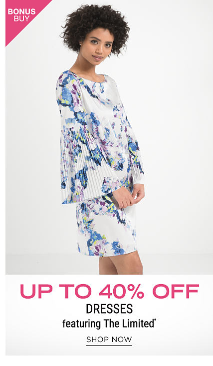 A woman wearing a blue & white floral print long sleeved dress. Bonus Buy. Up to 40% off dresses featuring The Limited. Shop now.
