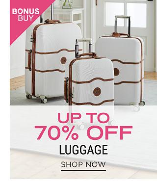 A white 3 piece hardside luggage set. Bonus Buy. Up to 70% off luggage. Shop now.