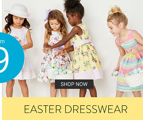 Four girls wearing various styles of pastel colored Easter dresses. From $9 Easter dresswear. Shop now.
