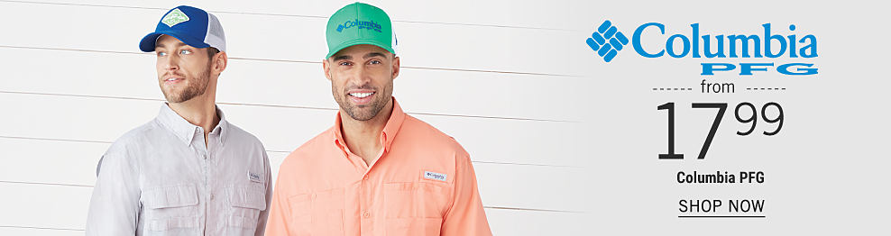 A man wearing a blue & white baseball cap & light gray long sleeved button front shirt standing next to a man wearing a mint green, blue & white baseball cap & peach long sleeved button front shirt. From $17.99 Columbia P F G. Shop now.