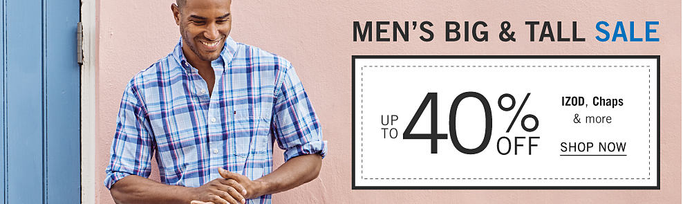 A man wearing a blue & white plaid long sleeved button front shirt. Big & Tall Sale. Up to 40% off Izod, Chaps & more. Shop now.