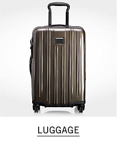 A gray hardside spinner. Shop luggage.