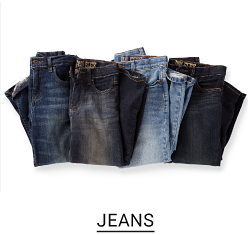 Variety of blue jeans. Shop Jeans.