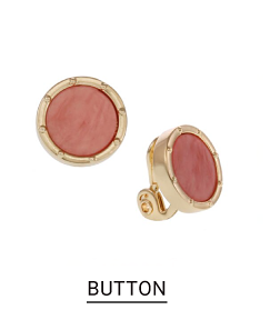 A pair of red button earrings trimmed in gold. Shop button.