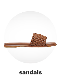 A tan slide sandal. Sandals