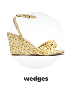 An espadrille wedge heel with a knotted accent. Wedges.