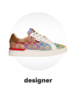 A Coach sneaker with the logo in a variety of colors. Designer.