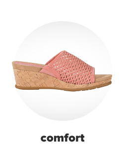 A slight wedge heel with a pink perforated fabric. Comfort.