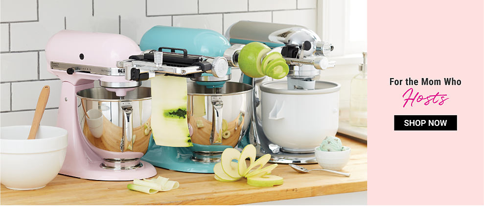 A light pink Kitchen Aid mixer, a teal Kitchen Aid mixer & a silver metallic Kitchen Aid mixer. For the Mom Who Hosts. Shop now.