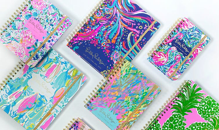 An assortment of colorful agendas and planners from Lilly Pulitzer.