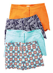 An assortment of solid color and printed shorts. Shop shorts