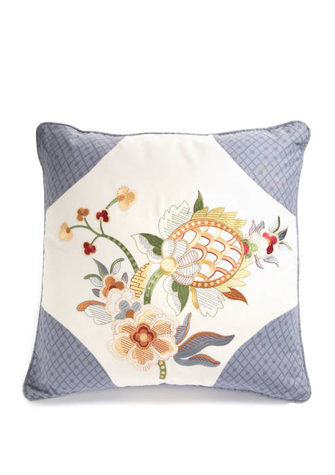 20 in x 20 in Rhapsody Crème Embroidered Decorative Accessory Pillow