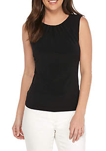 Calvin Klein Pleated Neck Sleeveless Blouse