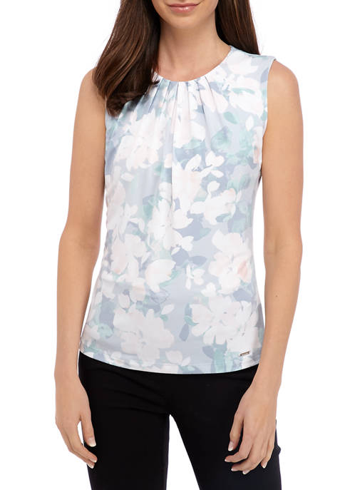 Womens Floral Pleat Neck Camisole