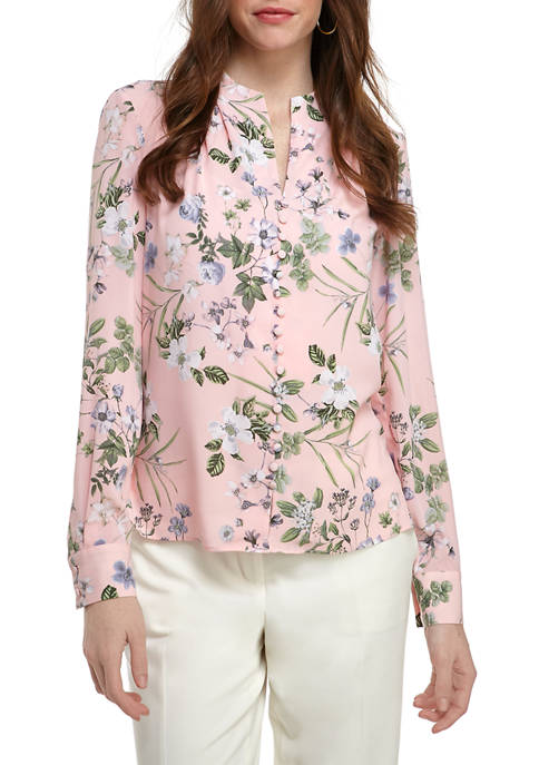 Calvin Klein Womens Button Front Floral Long Sleeve