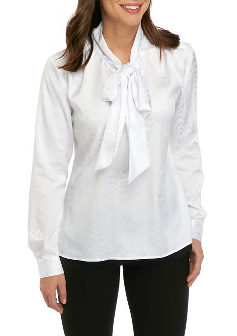 Calvin Klein Womens Long Sleeve Jacquard Bow Blouse