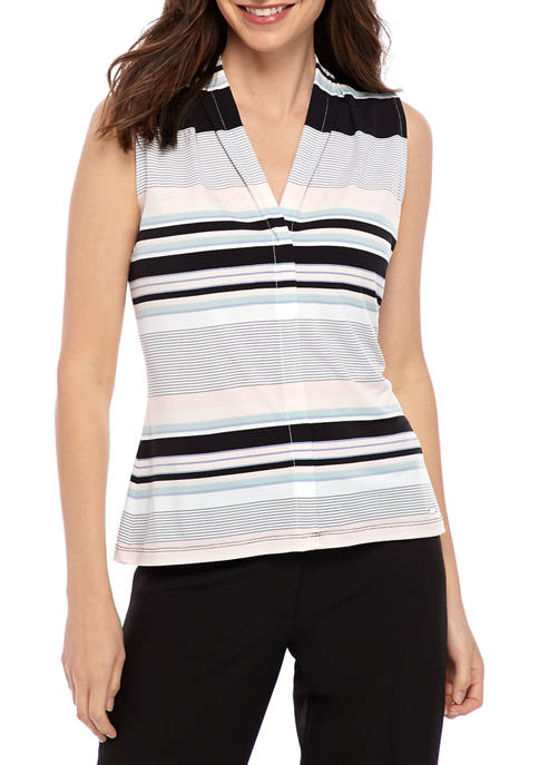 Calvin Klein Womens Multi Stripe V Neck Top