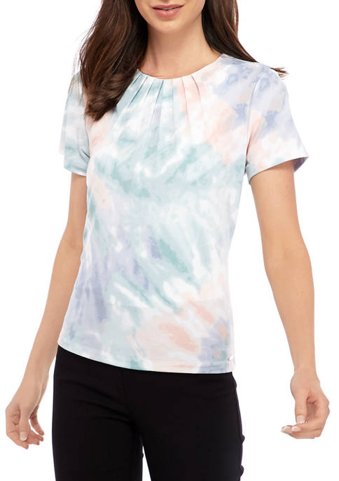 Calvin Klein Womens Tie Dye Pleat Neck Short