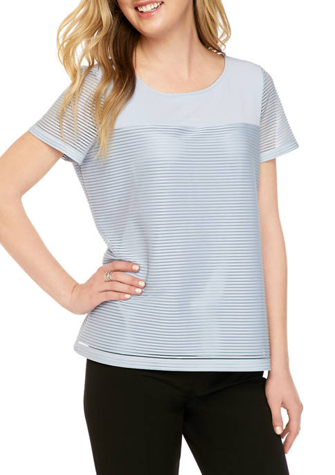 Short Sleeve Mixed Media Knit Top