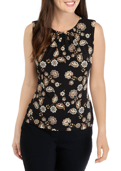 Calvin Klein Womens Printed Pleat Neck Camisole