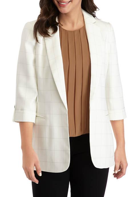 Calvin Klein Womens Windowpane Roll Tab Jacket