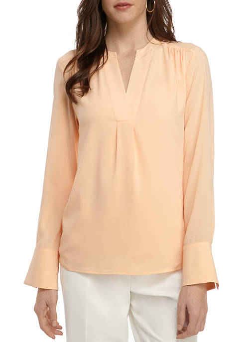 Calvin Klein Womens Solid Long Sleeve Blouse