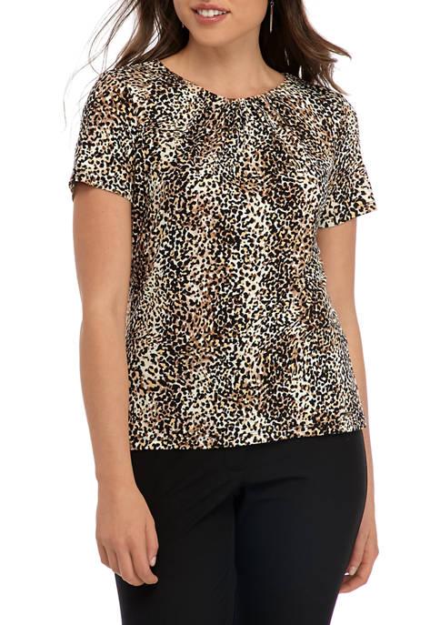 Calvin Klein Womens Printed Short Sleeve Pleat Neck