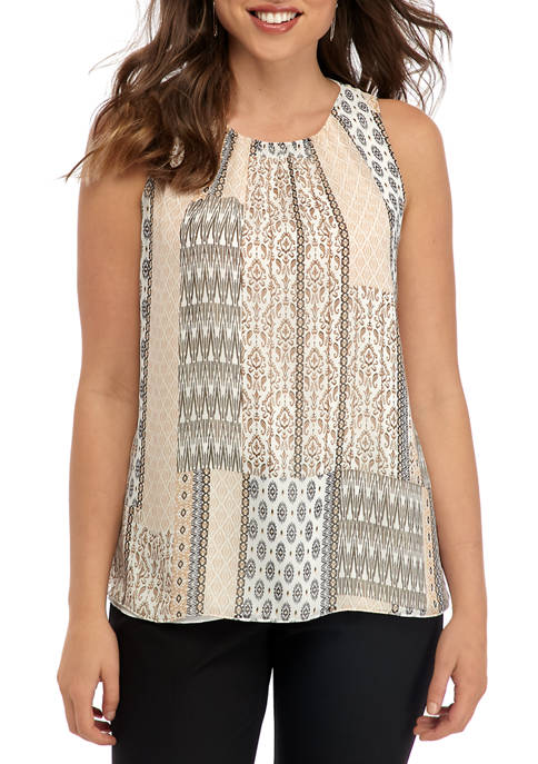 Womens Printed Pleat Neck Top