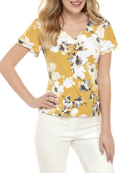 Calvin Klein Floral V-Neck Tier Sleeve Knit Blouse