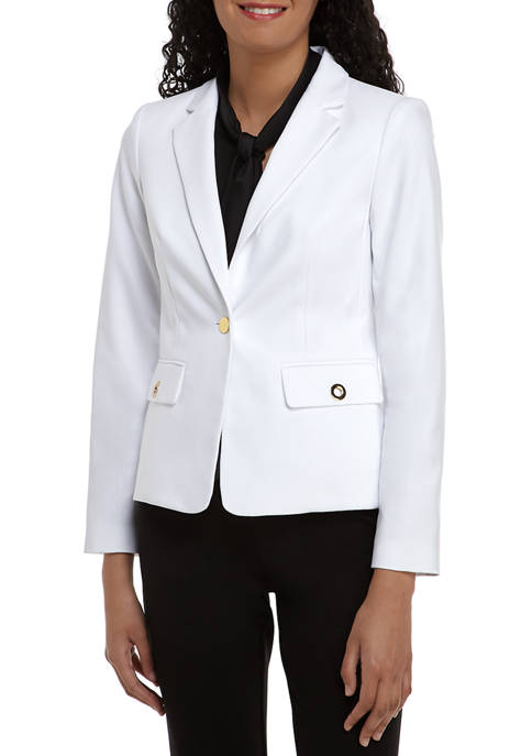 Calvin Klein Womens One Button Cotton Jacket