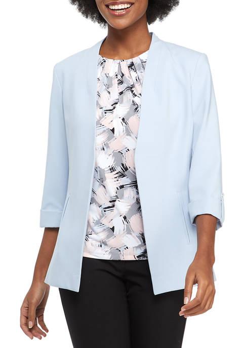 Calvin Klein Open Front Asymmetrical Roll Tab Jacket