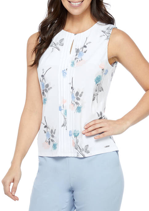 Calvin Klein Sleeveless Pleat Front Floral Knit Top