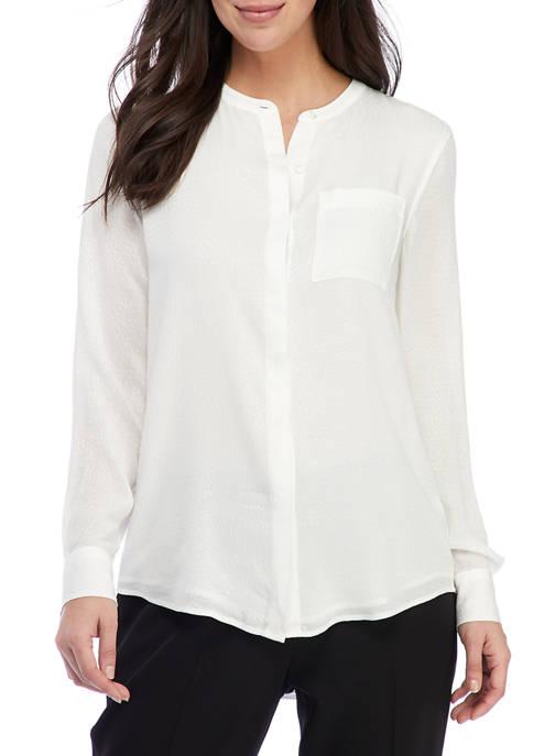Calvin Klein Long Sleeve Button Down Crinkle Tunic