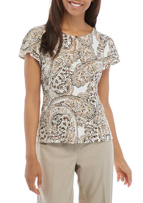 Calvin Klein Sleeveless Flutter Paisley Print Blouse