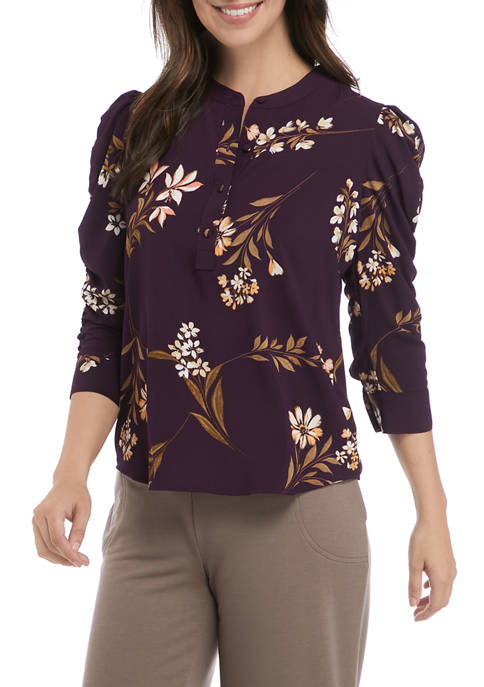 Calvin Klein 3/4 Ruched Sleeve Floral Woven Top