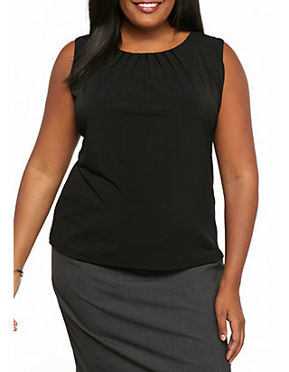 273c91bc3f8 Calvin Klein Plus Size Solid Pleat Neck Top ...