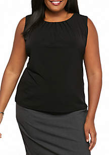 Plus Size Solid Pleat Neck Top