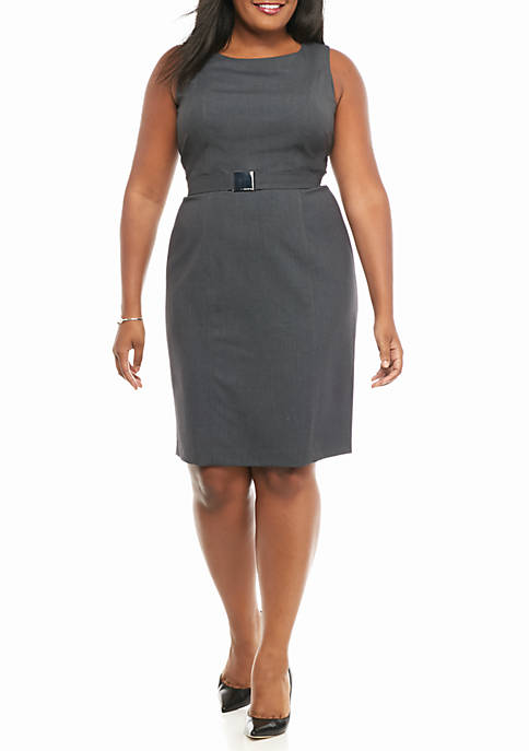 Plus Size Belted Charcoal Dress