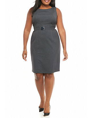 Calvin Klein Plus Size Belted Charcoal Dress | belk