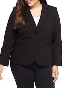 Plus Size Solid Dual Front Button Jacket