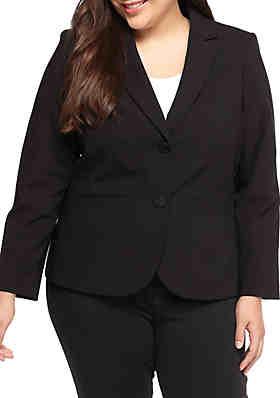 dc14c6dac83 Calvin Klein Plus Size Solid Dual Front Button Jacket ...