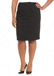 Plus Size Straight Black Skirt