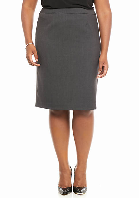 Calvin Klein Plus Size Straight Charcoal Skirt