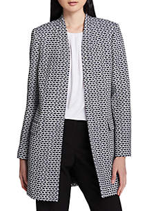 Printed Textured Open Front Jacket