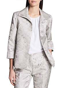 Jacquard Open Front Jacket with Cuffed Sleeves