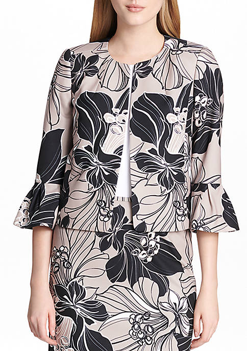 Calvin Klein Printed Bell Sleeve Open Jacket