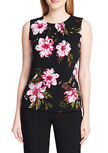 Floral Pleated Neck Tank